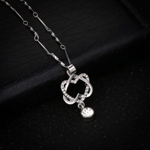 Double Heart Chain Necklace Silver Plated Pendant
